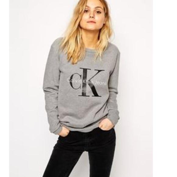 calvin klein sweatshirt grey women